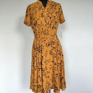 NWT $128 Nanette Lepore Mustard Floral Dress 4